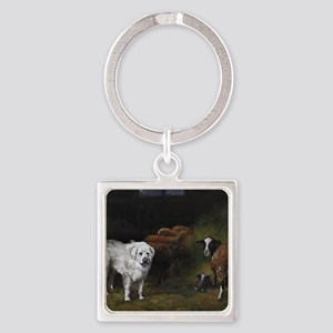 Great Pyrenees with Sheep Square Keychain