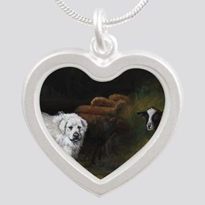 Great Pyrenees with Sheep Silver Heart Necklace
