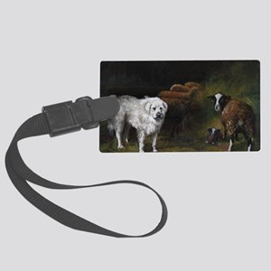 Great Pyrenees with Sheep Large Luggage Tag