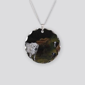 Great Pyrenees with Sheep Necklace Circle Charm