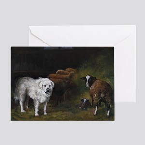 Great Pyrenees with Sheep Greeting Card