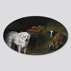 Great Pyrenees with Sheep Sticker (Oval)