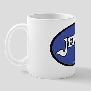 JewishOvalStickerWhiteDkBlue Mug