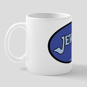JewishOvalStickerLtBlueOnDkBlue Mug