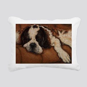 Saint Bernard Sleeping Rectangular Canvas Pillow