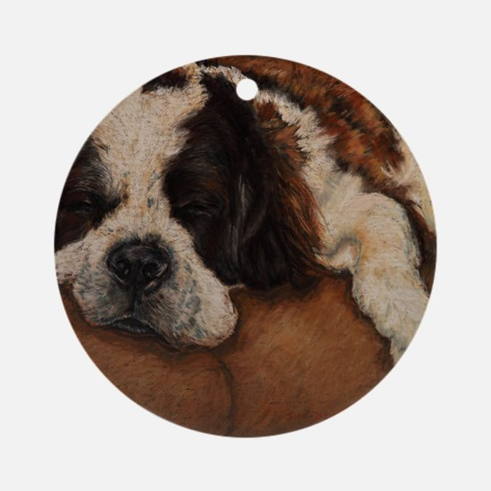 Saint Bernard Sleeping Round Ornament