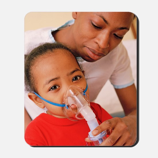 Girl with nebulizer Mousepad