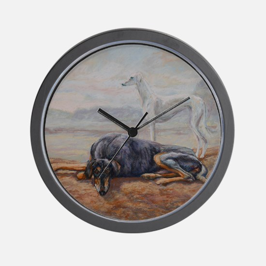 Saluki in the Desert Wall Clock