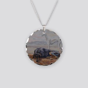 Saluki in the Desert Necklace Circle Charm