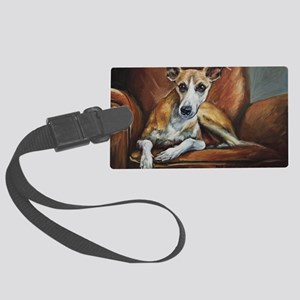Whippet on Chair Large Luggage Tag