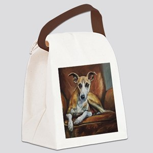 Whippet on Chair Canvas Lunch Bag