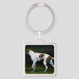 English Pointerin the Woods Square Keychain