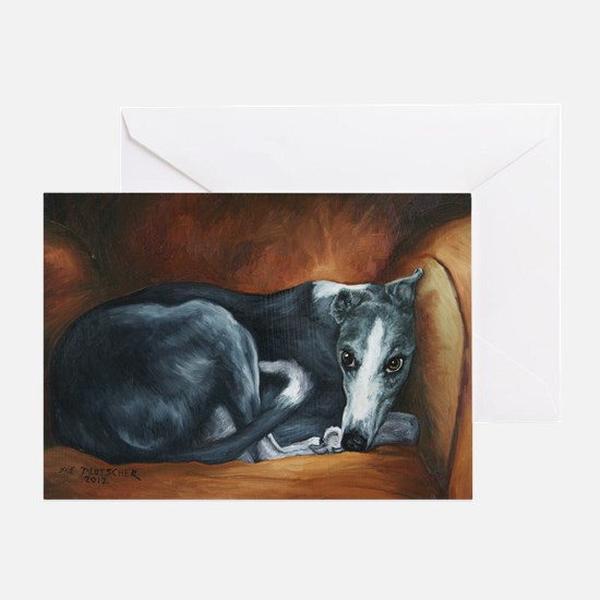 Whippet on Chair Greeting Card
