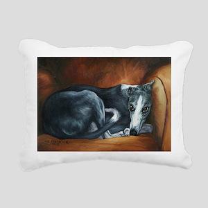 Whippet on Chair Rectangular Canvas Pillow
