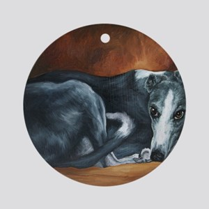 Whippet on Chair Round Ornament