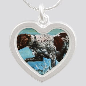 German Shorthaired Pointer Silver Heart Necklace