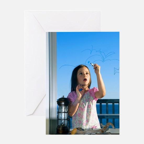 Girl drawing Greeting Card