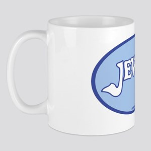 JewishOvalStickerWhitOnLtBlue Mug