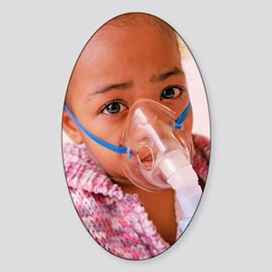Girl with asthma nebulizer Sticker (Oval)