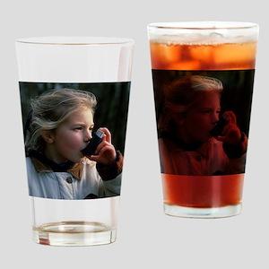 Girl using inhaler Drinking Glass