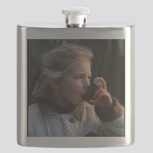 Girl using inhaler Flask