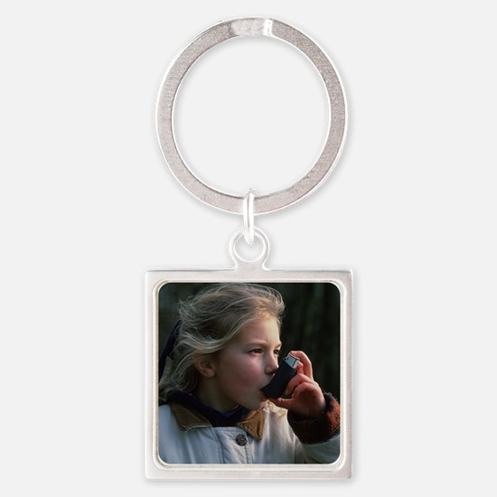 Girl using inhaler Square Keychain