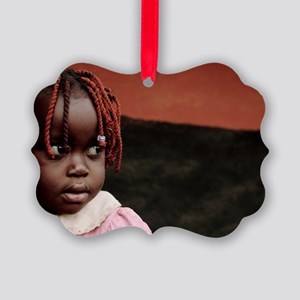 Girl at a refugee camp, Uganda Picture Ornament