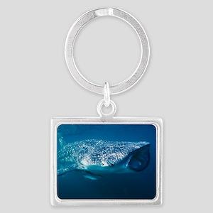 Whale shark and pilot fish Landscape Keychain
