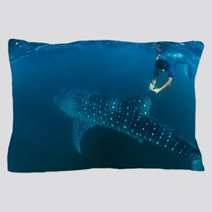Whale shark and snorkeler Pillow Case