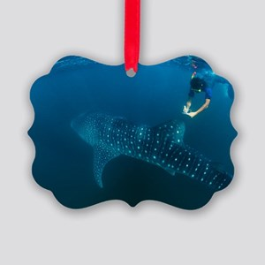 Whale shark and snorkeler Picture Ornament