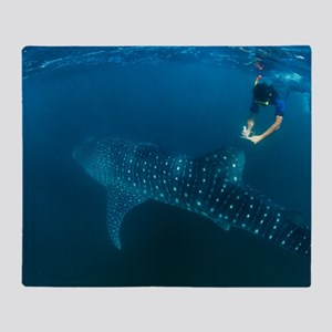 Whale shark and snorkeler Throw Blanket