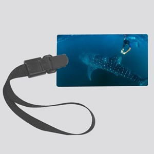 Whale shark and snorkeler Large Luggage Tag