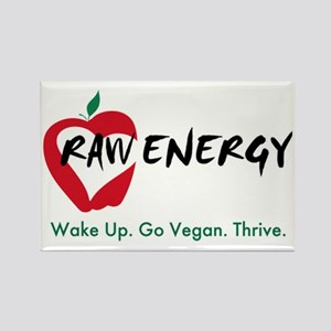 Raw Energy Wake Up Go Vegan Thriv Rectangle Magnet