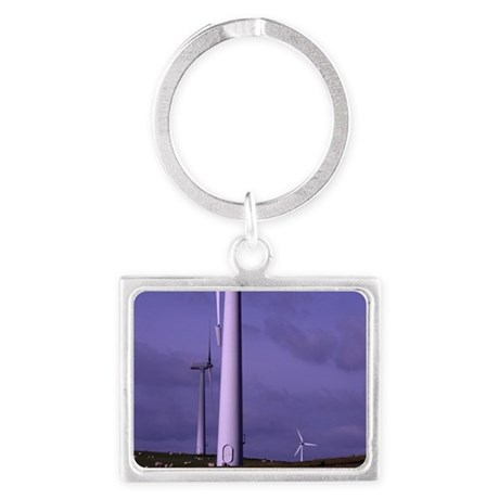 Wind farm turbines Landscape Keychain