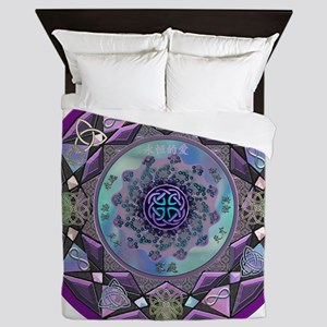 Purple Celtic Fractal Mandala Queen Duvet