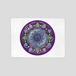 Purple Celtic Fractal Mandala 5'x7'Area Rug