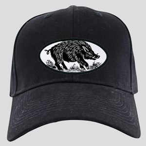 Wild boar, woodcut Black Cap