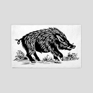 Wild boar, woodcut 3'x5' Area Rug