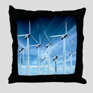Wind turbines Throw Pillow