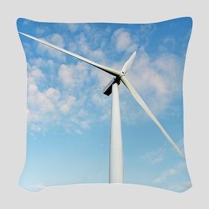 Wind turbine, Denmark Woven Throw Pillow