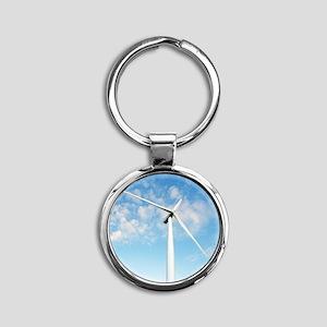 Wind turbine, Denmark Round Keychain