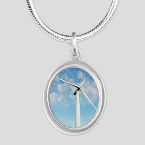 Wind turbine, Denmark Silver Oval Necklace