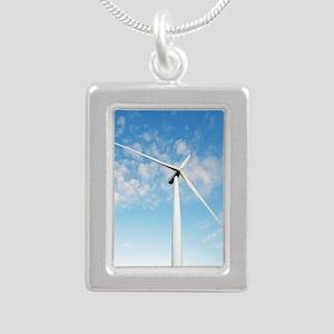 Wind turbine, Denmark Silver Portrait Necklace