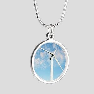 Wind turbine, Denmark Silver Round Necklace