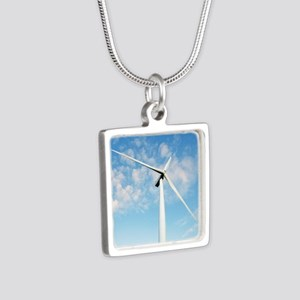 Wind turbine, Denmark Silver Square Necklace