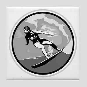 Black & White Surfer Girl Design Tile Coaster