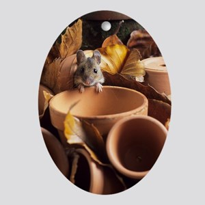 Wood mouse Oval Ornament