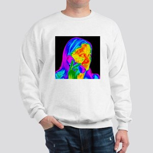 Woman using a mobile phone, thermogram Sweatshirt