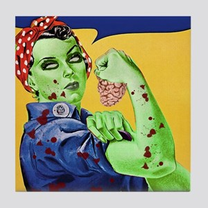Rosie the Riveter Zombie We Can Chew  Tile Coaster