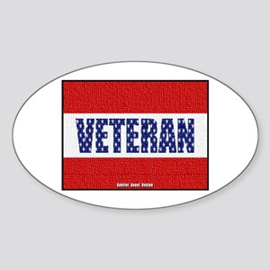Veteran Flag Banner Oval Sticker